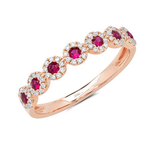 DIAMOND AND RUBY ROSE GOLD RING - MICHAEL K. JEWELERS