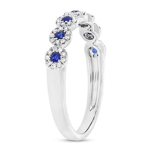 DIAMOND AND SAPPHIRE WHITE GOLD BAND - MICHAEL K. JEWELERS