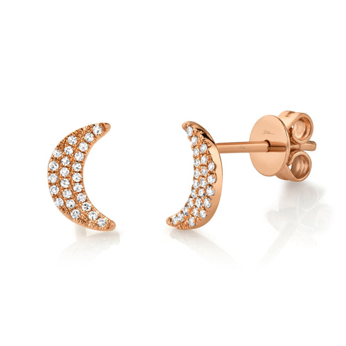 CRESCENT MOON DIAMOND STUD EARRING - MICHAEL K. JEWELERS
