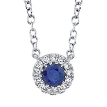Load image into Gallery viewer, SOLITARE HALO DIAMOND AND SAPPHIRE NECKLACE - MICHAEL K. JEWELERS