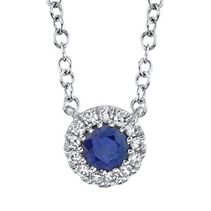 SOLITARE HALO DIAMOND AND SAPPHIRE NECKLACE - MICHAEL K. JEWELERS