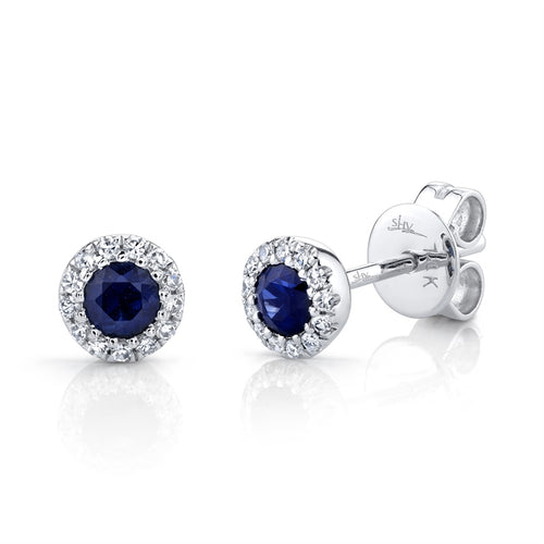 DIAMOND AND BLUE SAPPHIRE STUD EARRING - MICHAEL K. JEWELERS