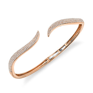ROSE GOLD DIAMOND PAVE OPEN BANGLE - MICHAEL K. JEWELERS