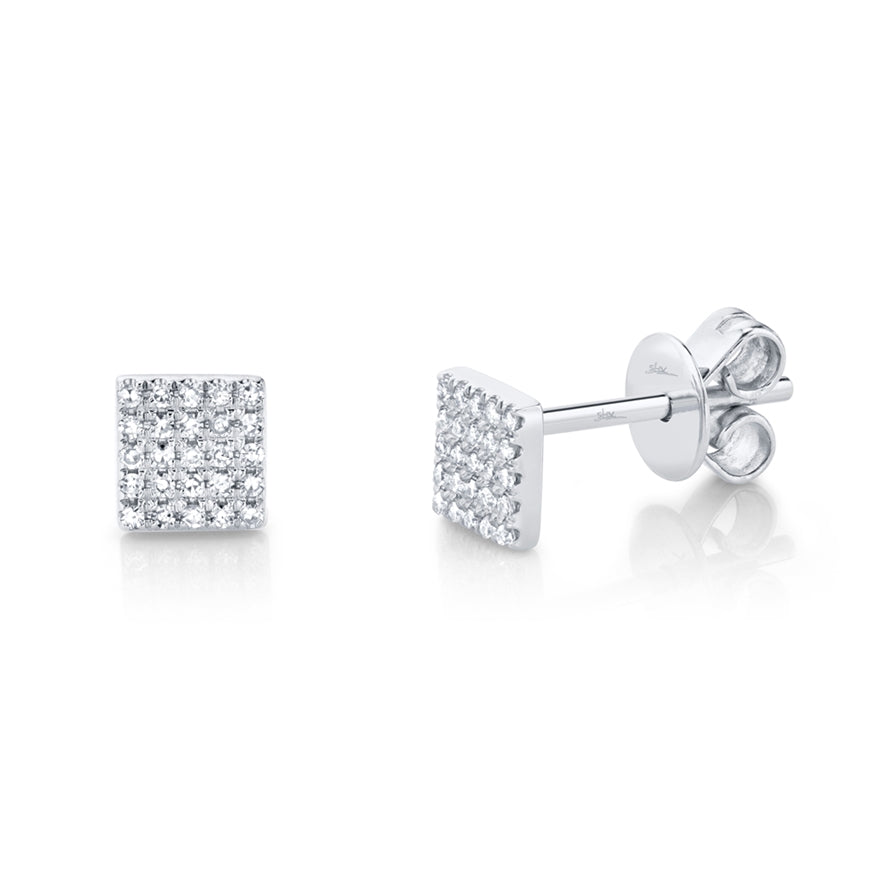 DIAMOND PAVE SQUARE STUD EARRING - MICHAEL K. JEWELERS