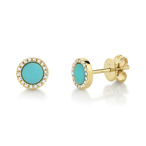 DIAMOND AND TURQUOISE STUD GOLD EARRING - MICHAEL K. JEWELERS