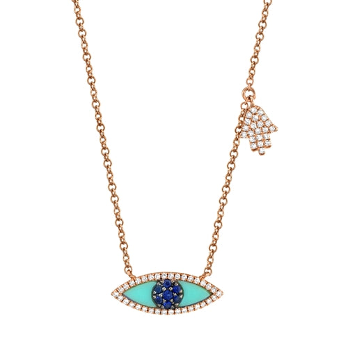 DIAMOND & BLUE SAPPHIRE/TURQUOISE HAMSA NECKLACE - MICHAEL K. JEWELERS