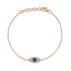 EVIL EYE BRACELET W/ DIAMOND, BLUE SAPPHIRE & TURQUOISE - MICHAEL K. JEWELERS
