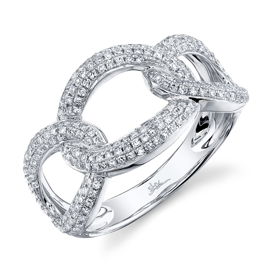 WHITE GOLD BIG CHAIN LINK DIAMOND RING - MICHAEL K. JEWELERS