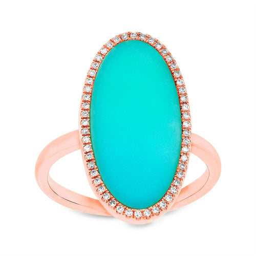 OVAL DIAMOND AND COMPOSITE TURQUOISE RING - MICHAEL K. JEWELERS