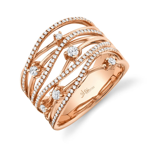 ROSE GOLD DIAMOND BRIDGE RING - MICHAEL K. JEWELERS