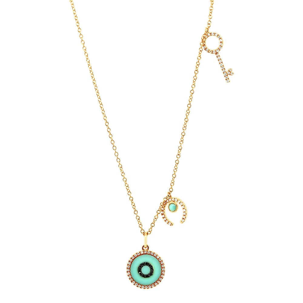 EVIL EYE DIAMOND AND TURQUOISE CHARM NECKLACE - MICHAEL K. JEWELERS