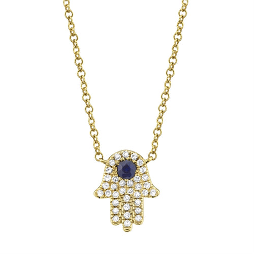 GOLD DIAMOND HAMSA NECKLACE W/ DIAMOND & BLUE SAPPHIRE - MICHAEL K. JEWELERS