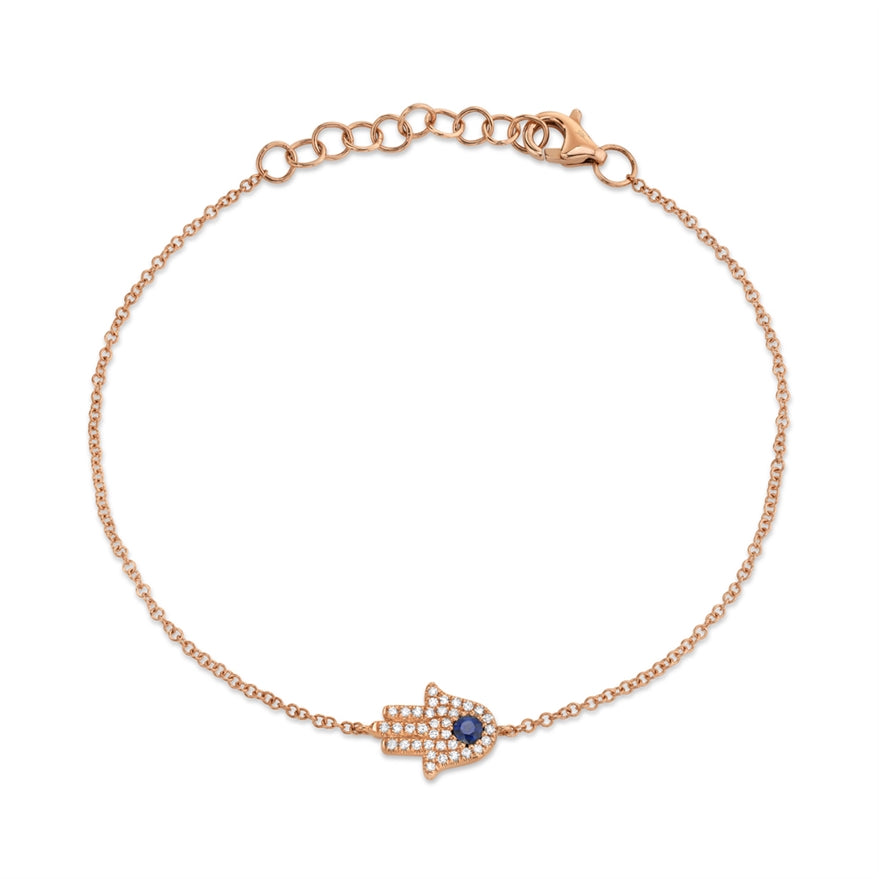 ROSE GOLD HAMSA BRACELET W/ DIAMONDS & BLUE SAPPHIRE - MICHAEL K. JEWELERS