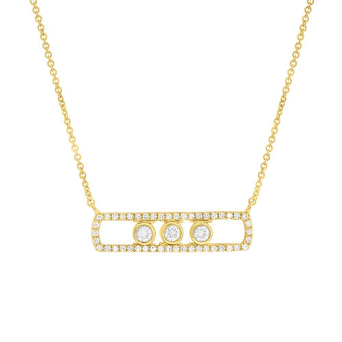 YELLOW GOLD DIAMOND SLIDER BAR NECKLACE - MICHAEL K. JEWELERS