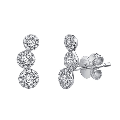 3-STONE HALO DIAMOND EARRING - MICHAEL K. JEWELERS