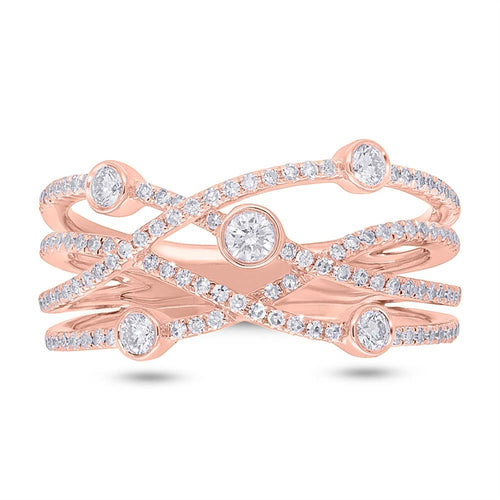 ROSE GOLD DIAMOND ORBIT RING - MICHAEL K. JEWELERS
