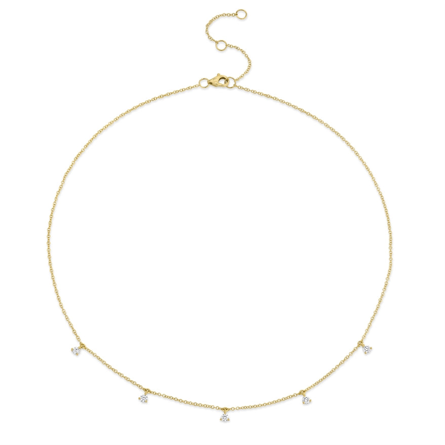YELLOW GOLD DIAMOND DANGLE NECKLACE - MICHAEL K. JEWELERS