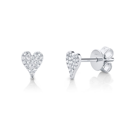 GOLD PAVE DIAMOND HEART STUD EARRING - MICHAEL K. JEWELERS