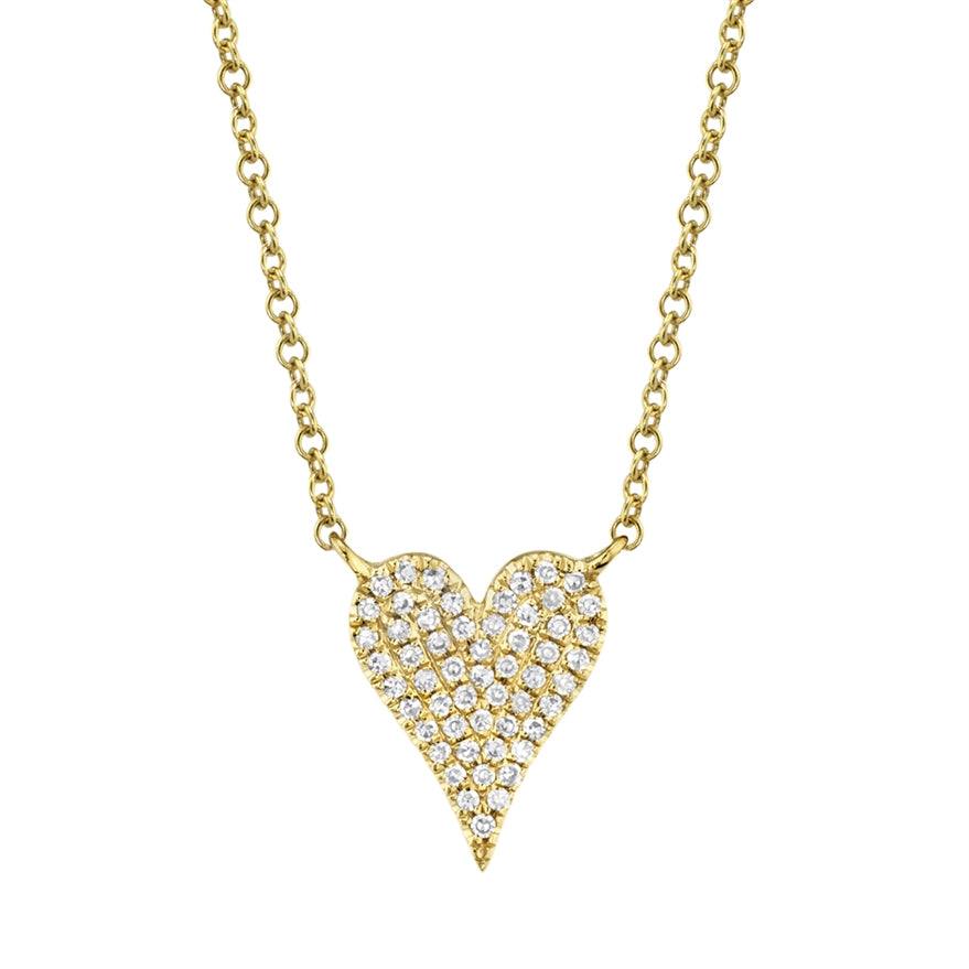 GOLD DIAMOND PAVE HEART NECKLACE - MICHAEL K. JEWELERS