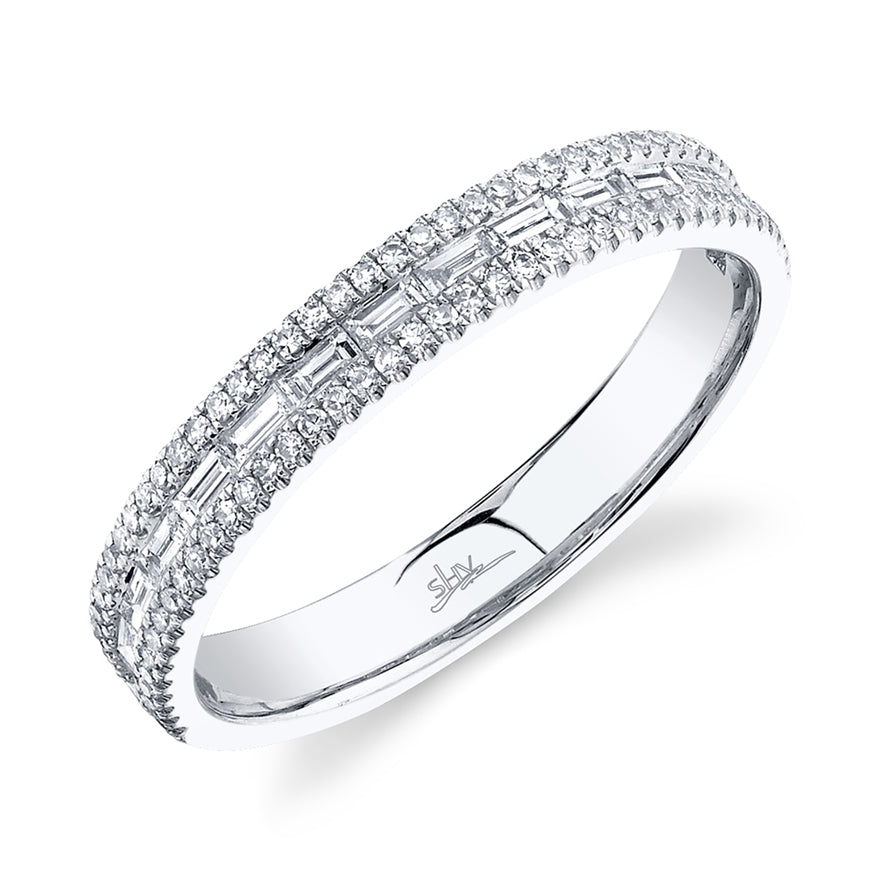 WHITE GOLD ROUND AND BAGUETTE BAND - MICHAEL K. JEWELERS