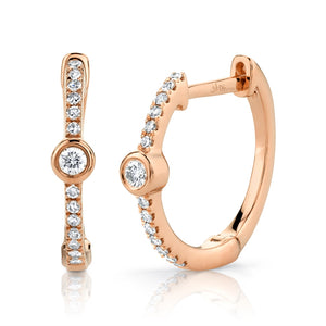 ROSE GOLD DIAMOND BEZEL HOOP EARRING - MICHAEL K. JEWELERS