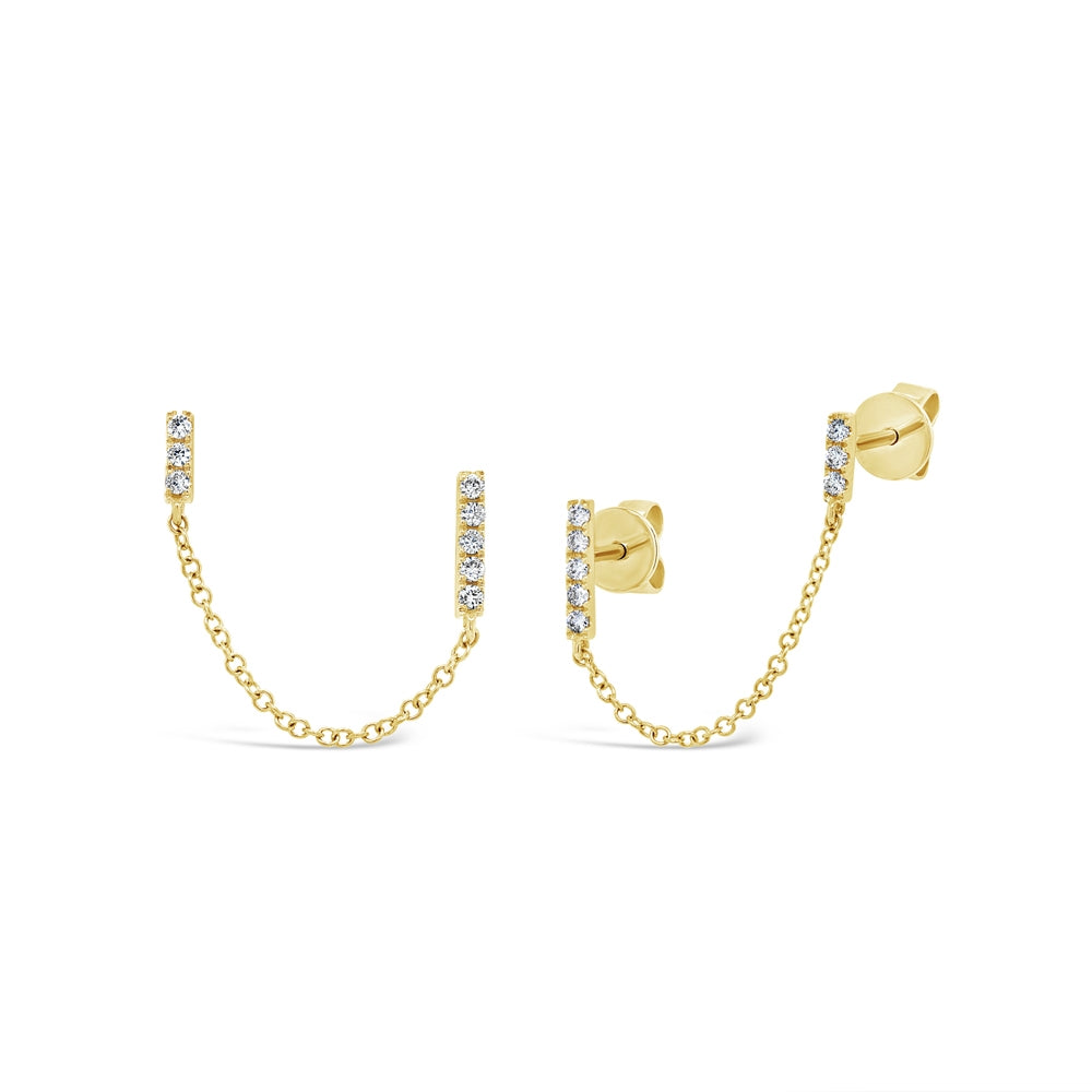 GOLD DIAMOND BAR EARRING - MICHAEL K. JEWELERS