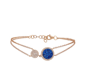 CIRCLE LAPIS AND DIAMOND ROSE GOLD BRACELET - MICHAEL K. JEWELERS