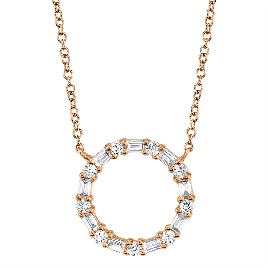 ROSE GOLD DIAMOND BAGUETTE OVAL NECKLACE - MICHAEL K. JEWELERS