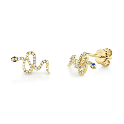 DIAMOND AND SAPPHIRE GOLD SNAKE STUD EARRING - MICHAEL K. JEWELERS
