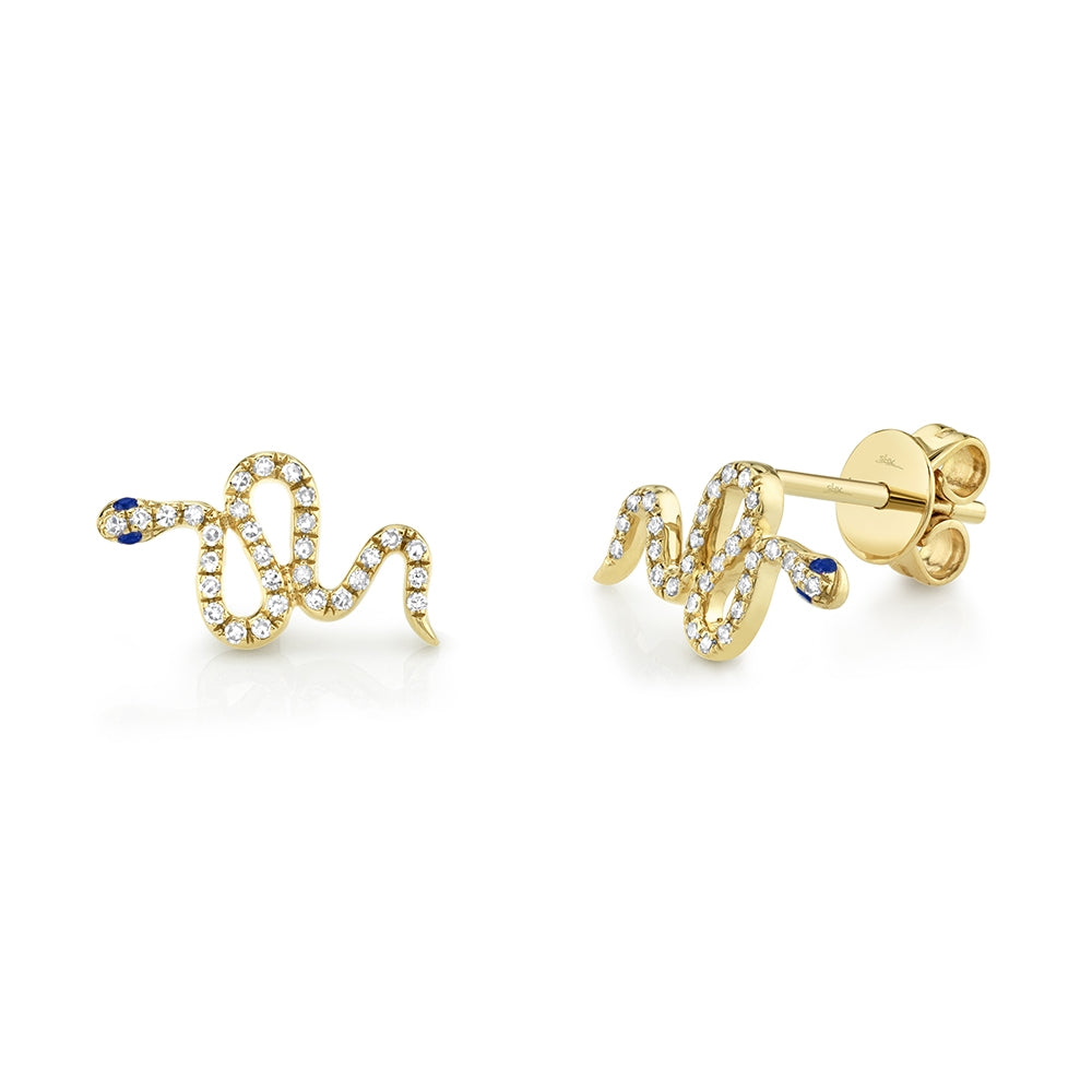 DIAMOND AND BLUE SAPPHIRE SNAKE STUD EARRING - MICHAEL K. JEWELERS