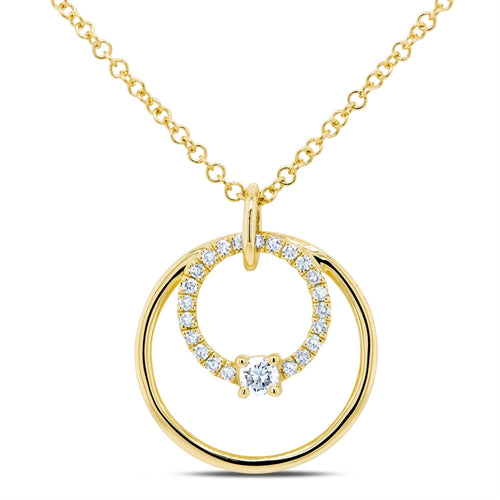 YELLOW GOLD DIAMOND CIRCLE NECKLACE - MICHAEL K. JEWELERS
