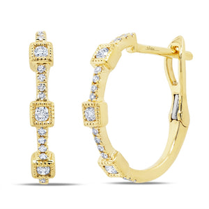 YELLOW GOLD DIAMOND HOOP EARRING - MICHAEL K. JEWELERS