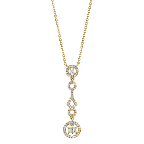 YELLOW GOLD DIAMOND BAGUETTE NECKLACE - MICHAEL K. JEWELERS