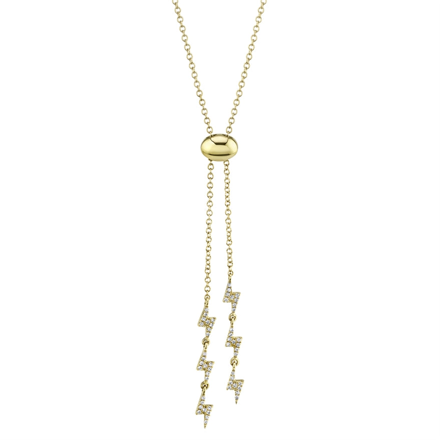 YELLOW GOLD DIAMOND LIGHTNING BOLO NECKLACE - MICHAEL K. JEWELERS