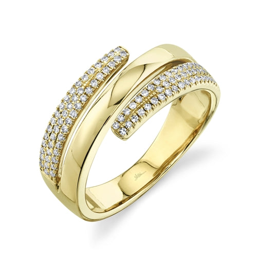 YELLOW GOLD DIAMOND PAVE RING - MICHAEL K. JEWELERS
