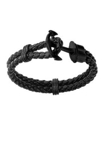 DOUBLE BRAIDED LEATHER WITH ANCHOR CLASP BRACELET - MICHAEL K. JEWELERS