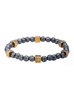 GREY HEMATITE WITH ANTIQUE GOLD BRASS BEAD BRACELET - MICHAEL K. JEWELERS