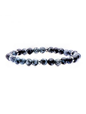 GREY STAINLESS STEEL SNOWFLAKE BEADED STRECH BRACELET - MICHAEL K. JEWELERS