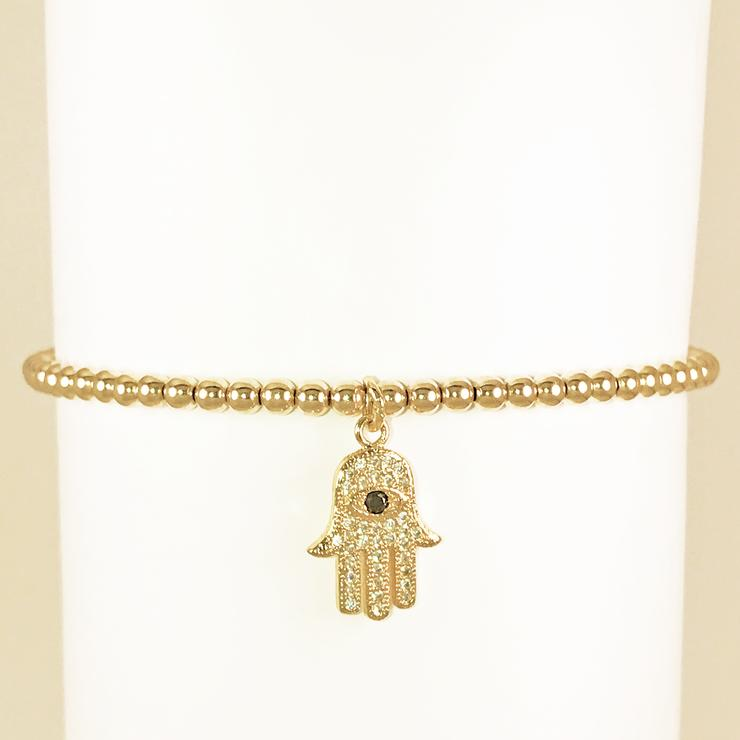 YELLOW GOLD BEAD BRACELET WITH CZ HAMSA - MICHAEL K. JEWELERS