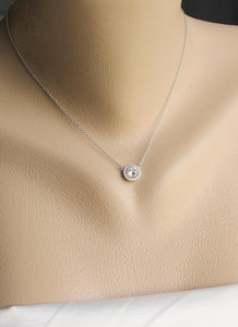 SOLITARE HALO DIAMOND NECKLACE - MICHAEL K. JEWELERS