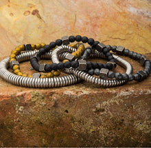 Load image into Gallery viewer, GREY HEMATITE WITH ANTIQUE GOLD BRASS BEAD BRACELET - MICHAEL K. JEWELERS