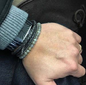 GREY LEATHER BRACELET - MICHAEL K. JEWELERS