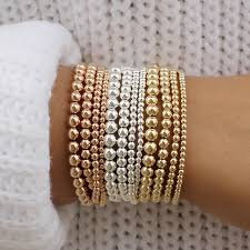PLAIN SILVER GOLD-FILLED BEAD BRACELET - MICHAEL K. JEWELERS