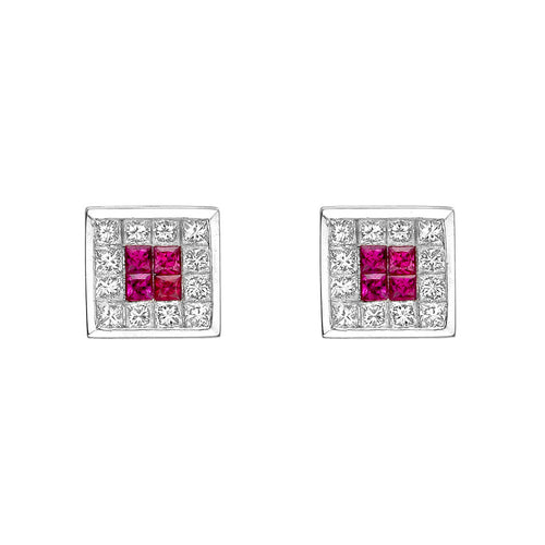 SQUARE RUBY DIAMOND HALO STUD EARRING - MICHAEL K. JEWELERS