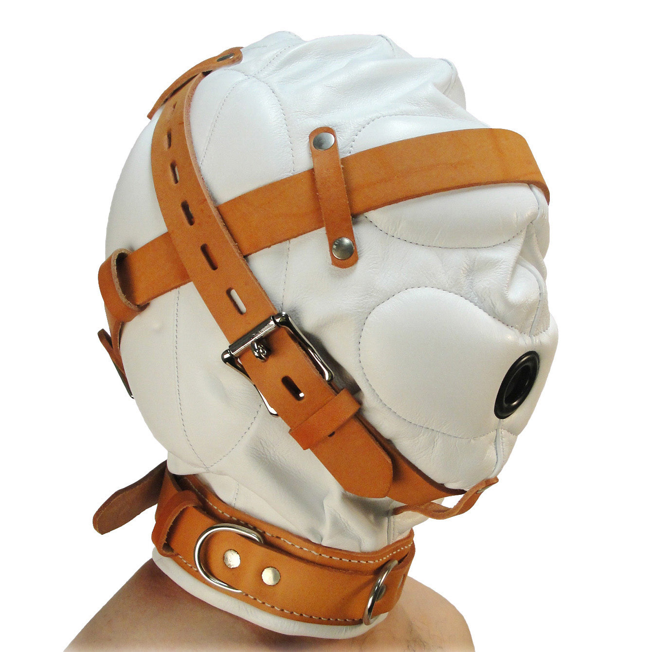 Strict Leather Total Sensory Deprivation White Leather Hood - MediumLarge AC220-ML,Beginner Bondage