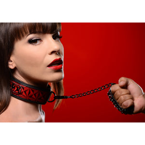 Master Series Crimson Tied Collar with Leash AE144,Beginner Bondage