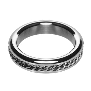 Master Series Metal Cock Ring with Chain Inlay- 1.75 In AE412-SM,Metal Cock Rings