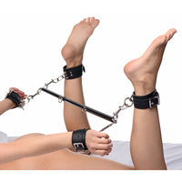 Master Series Black Doggy Style Spreader Bar Kit with Cuffs AE718,Ankle and Wrist Restraints