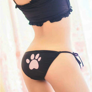 New Arrival Cute Sexy Kitty Cat Embroidery Meow star Keyhole Hollow Bra And Underwear Anime Cosplay Lingerie Set