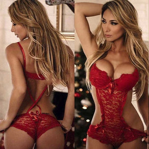 Women Red Sexy Lingerie Costumes Lace Babydoll Push Up Erotic